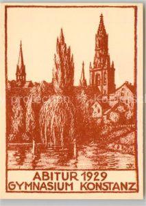 AK / Ansichtskarte Konstanz_Bodensee Abitur Gymnasium 1929 Muenster Kuenstlerkarte Konstanz_Bodensee