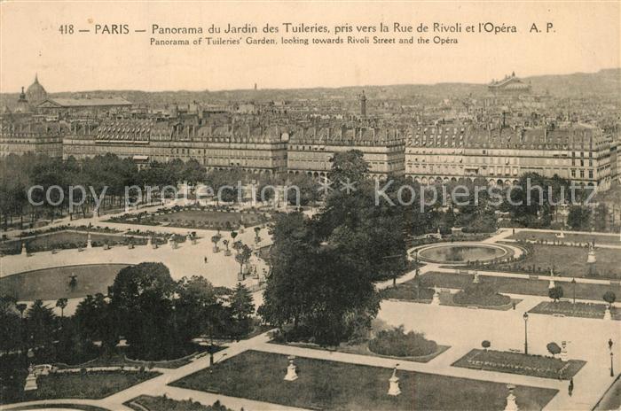 AK / Ansichtskarte Paris Panorama du Jardin des Tuileries pris vers la Rue  de Rivoli et l Opera Paris