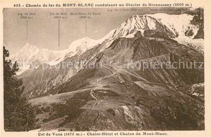 AK / Ansichtskarte Mont_Blanc Chemin de fer Col de Voza Chalet Hotel et Chaine du Mont Blanc Mont_Blanc