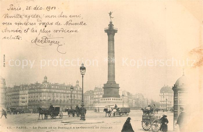 AK / Ansichtskarte Paris La Place de la Bastille a la Colonne de Juillet Paris