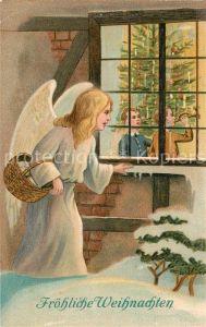 AK / Ansichtskarte Schutzengel Kinder Weihnachtsbaum Weihnachten Litho  Schutzengel