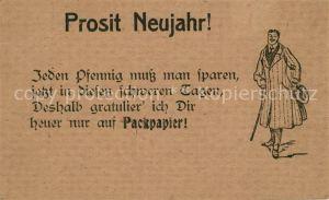 AK / Ansichtskarte Neujahr Vers Packpapier  Neujahr