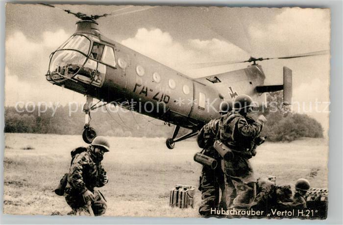 AK / Ansichtskarte Hubschrauber_Helikopter Vertol H 21 Deutsche Bundeswehr  Hubschrauber Helikopter