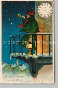 AK / Ansichtskarte Neujahr Nachwaechter Uhr Laterne Litho Neujahr