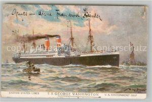 AK / Ansichtskarte Dampfer_Oceanliner S.S. George Washington United States Lines Willy Stoewer  Dampfer Oceanliner