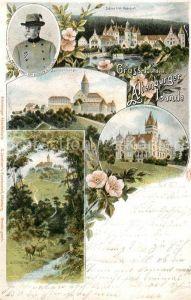 AK / Ansichtskarte Altenburg_Thueringen Herzog Ernst von Sachsen Altenburg Schloss Leuchtenburg Schloss Hummelshain Waldpartie Wild Litho Altenburg Thueringen