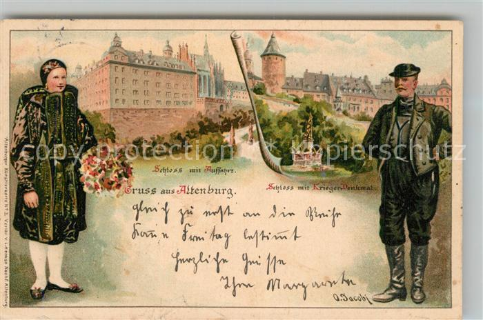 AK / Ansichtskarte Altenburg_Thueringen Schloss Kriegerdenkmal Altenburger Trachten Kuenstlerkarte Altenburg Thueringen