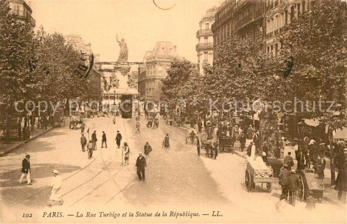 AK / Ansichtskarte Paris La Rue Turbigo et la Statue de la Republique Paris
