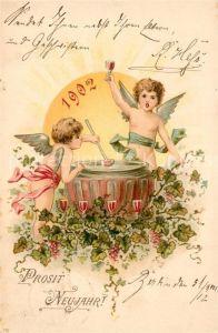 AK / Ansichtskarte Neujahr Engel Bowle Wein Litho Neujahr