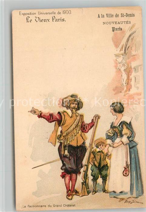 AK / Ansichtskarte Paris Exposition Universelle de 1900 Le Factionnaire du Grand Chatelet Grands Magasins de la Ville de Saint Denis Kuenstlerkarte Paris