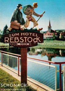 AK / Ansichtskarte Schonach_Schwarzwald Wegweiser zum Hotel Rebstock Schonach Schwarzwald