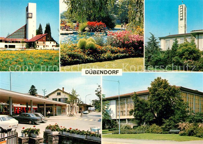 AK / Ansichtskarte Duebendorf Protest. Kirche Katholische Kirche Bahnhof Duebendorf