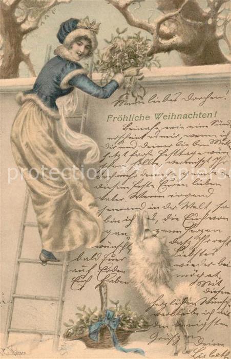 AK / Ansichtskarte Munk_M._Wien_Vienne_Nr. Frau Wintermode Hund Mistel Kuenstlerkarte Raimund von Wichera Munk_M._Wien_Vienne_Nr.
