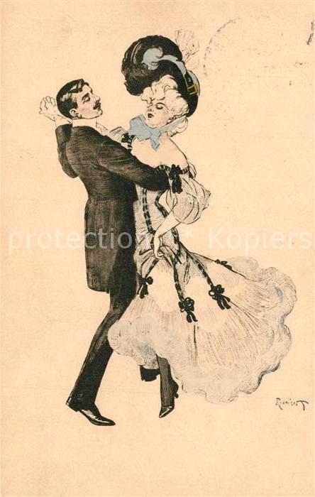 AK / Ansichtskarte Kuenstlerkarte Ferdinand von Reznicek Paar Tanz Mode Hutmode Simplicissimus Karte Nr. 5  Kuenstlerkarte