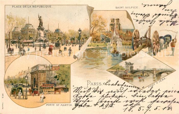 AK / Ansichtskarte Paris Place de la Republique Saint Sulfice Porte St Martin Pont Diena Paris