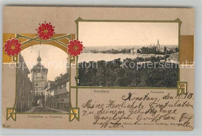 AK / Ansichtskarte Konstanz_Bodensee Schnetzthor und Husshaus Panorama Konstanz_Bodensee