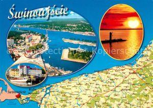 AK / Ansichtskarte Swinoujscie_Swinemuende Fliegeraufnahme Landkarte Leuchtturm Swinoujscie Swinemuende