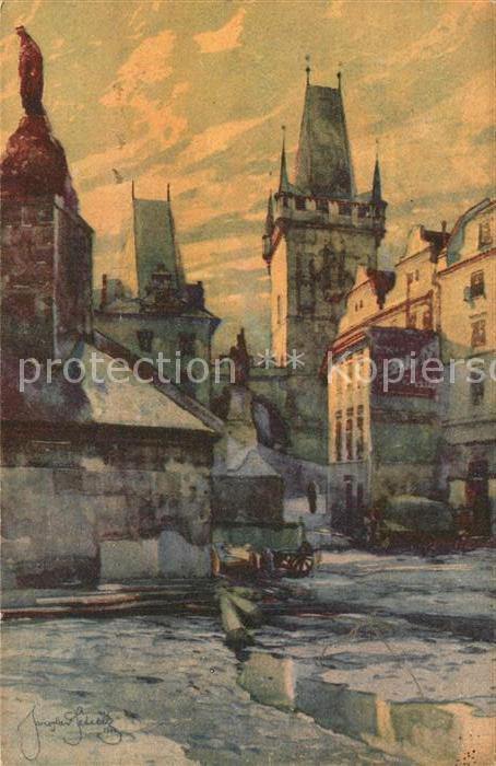 AK / Ansichtskarte Praha_Prahy_Prague Un coin pres du Pont du Petit Cote Praha_Prahy_Prague