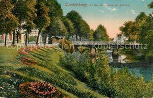 AK / Ansichtskarte Quedlinburg Partie an der Stumpfsberger Bruecke Quedlinburg