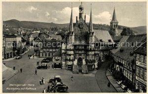 AK / Ansichtskarte Wernigerode_Harz Marktplatz mit Rathaus Fachwerkhaeuser Wernigerode Harz