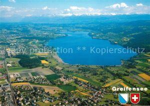 AK / Ansichtskarte Greifensee Fliegeraufnahme Seebecken Richtung Schwerzenbach Uster Greifensee