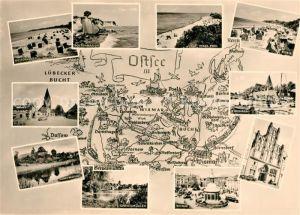 AK / Ansichtskarte Mecklenburg Gebietskarte Boltenhagen Insel Poel Rerik Kluetz Grevesmuehlen Wismar Kirchdorf Mecklenburg