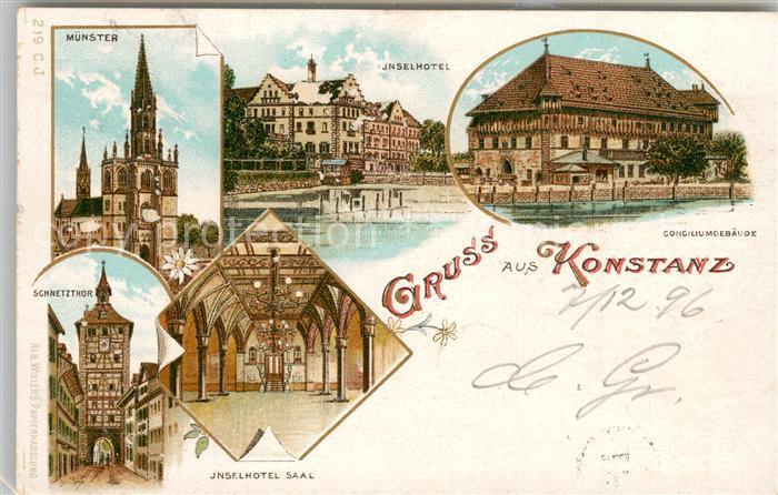 AK / Ansichtskarte Konstanz_Bodensee Muenster Inselhotel Saal Schnetztor Conciliumsgebaeude Konstanz_Bodensee