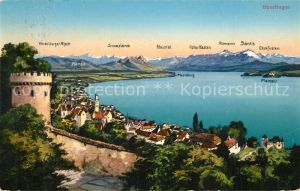 AK / Ansichtskarte ueberlingen_Bodensee Panorama Blick ueber den See zu den Alpen ueberlingen Bodensee