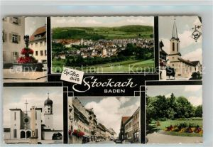 AK / Ansichtskarte Stockach_Baden Panorama Brunnen Kirche Kriegerdenkmal Strassenpartie Stadtpark Stockach_Baden