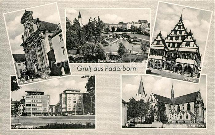 AK / Ansichtskarte Paderborn Franziskanerkirche Paderanlagen Rathaus Am Westerntor Dom Suedost Seite Paderborn