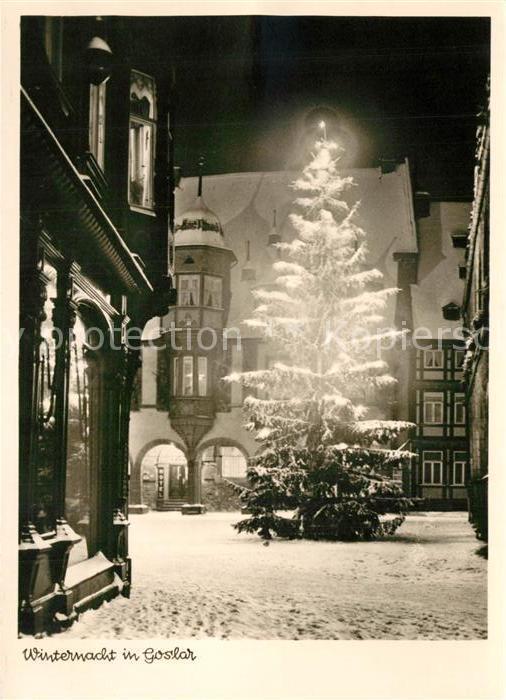 AK / Ansichtskarte Goslar Winternacht mit Weihnachtsbaum Goslar