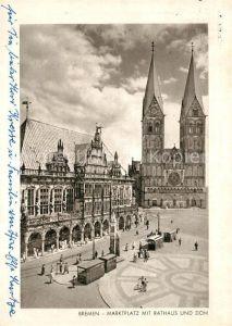 AK / Ansichtskarte Bremen Marktplatz mit Rathaus und Dom Bremen