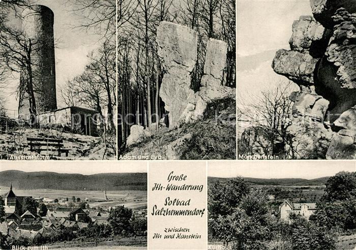 AK / Ansichtskarte Salzhemmendorf Aussichtsturm Adam und Evas Moenchenstein Ithe Kurhaus Salzhemmendorf
