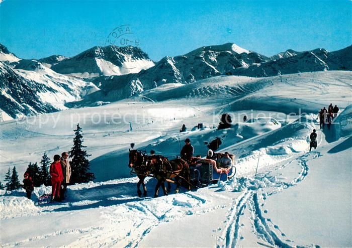AK / Ansichtskarte Arosa_GR Arlenwaldstrasse Pferdeschlitten Winterlandschaft Arosa_GR