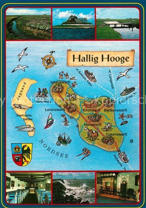 AK / Ansichtskarte Hallig_Hooge Landschaftspanorama Brandung Landkarte Wappen Hallig Hooge