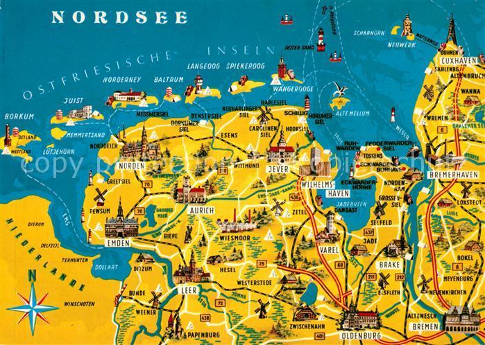 Karte Nordseeküste Niedersachsen.Ak Ansichtskarte Oldenburg Niedersachsen Und Umgebung Ostfriesische Insel Nordsee Landkarte Oldenburg Niedersachsen