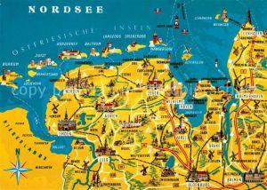 AK / Ansichtskarte Oldenburg_Niedersachsen und Umgebung Ostfriesische Insel Nordsee Landkarte Oldenburg Niedersachsen