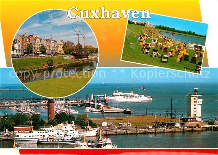 AK / Ansichtskarte Cuxhaven_Nordseebad Altes Segelschiff Badestrand Hafen Alte Liebe Fliegeraufnahme Cuxhaven_Nordseebad