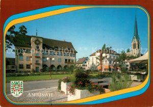 AK / Ansichtskarte Amriswil_TG Dorfplatz mit Gemeindehaus Kirche Amriswil TG