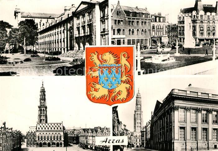 AK / Ansichtskarte Arras_Pas de Calais Musee Place Marechal Foch La Petite Place Palais de Justice Wappen Arras_Pas de Calais