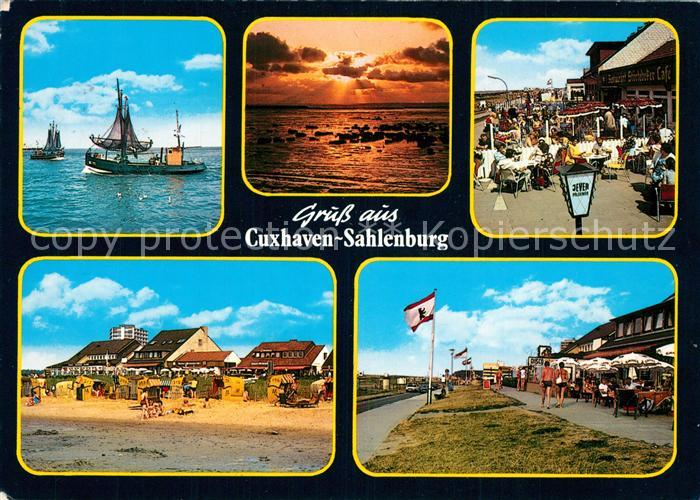 AK / Ansichtskarte Sahlenburg Fischkutter Strandcafe Sonnenuntergang Promenade Sahlenburg