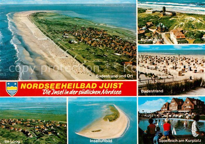 AK / Ansichtskarte Insel_Juist Nordseeinsel Badestrand Spielteich am Kurplatz Im Loog Fliegeraufnahme Insel_Juist