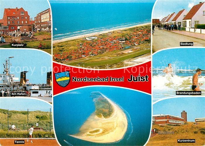 AK / Ansichtskarte Insel_Juist Kurplatz Hafen Tennisplatz Kurzentrum Brandungsbaden Siedlung Fliegeraufnahme Insel_Juist