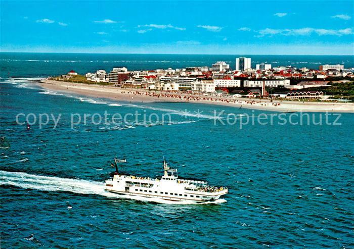 AK / Ansichtskarte Norderney_Nordseebad Faehre Nordseeinsel Fliegeraufnahme Norderney_Nordseebad