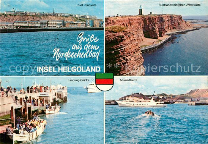 AK / Ansichtskarte Helgoland Nordseeinsel Kuesten Landungsbruecke Hafen Faehre Helgoland