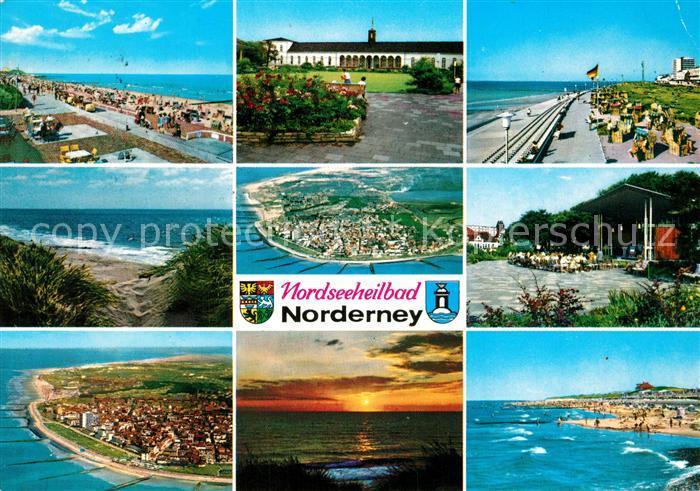 AK / Ansichtskarte Norderney_Nordseebad Strand Promenade Kurhaus Duenen Kurkonzert Sonnenuntergang Fliegeraufnahmen Norderney_Nordseebad