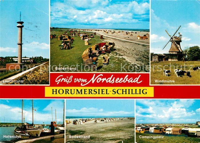 AK / Ansichtskarte Schillig Leuchtturm Badestrand Windmuehle Hafen Badestrand Campingplatz Schillig