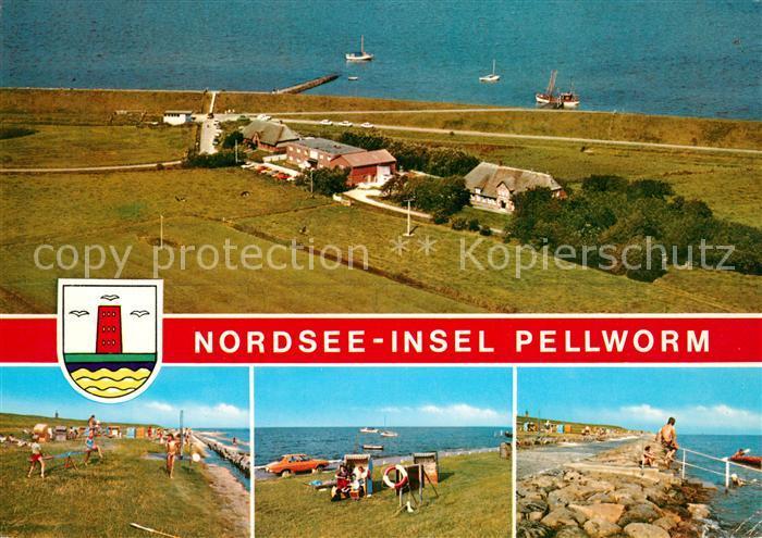 AK / Ansichtskarte Pellworm Badestrand Promenade Fliegeraufnahme Pellworm