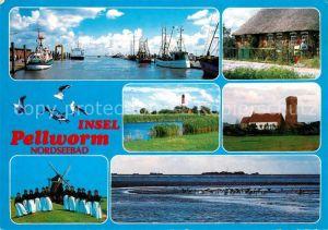 AK / Ansichtskarte Pellworm Hafen Fischkutter Friesenhaus Leuchtturm Windmuehle Trachten Pellworm