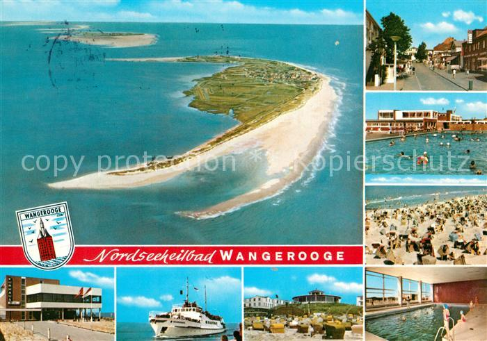 AK / Ansichtskarte Wangerooge_Nordseebad Ortsmotive Freibad Strand Faehre Hallenbad Nordseeinsel Fliegeraufnahme Wangerooge_Nordseebad